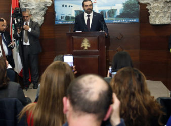 Lebanese Prime Minister Saad Hariri at the presidential palace in Baabda after the fomation of the new government in January 2019. (AP/Hussein Malla)