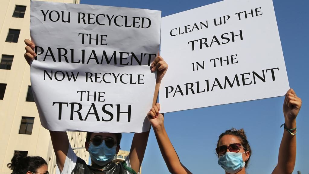 Protesters took to the street in 2015 at the height of Lebanon's trash crisis, only to be vilified by press. (The National | Hussein Malla | AP)