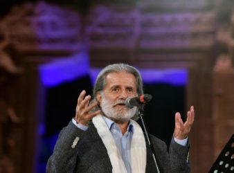 Lebanese musician and singer Marcel Khalife opening the 2019 Baalbeck International Festival. (EPA)