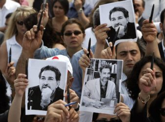 Protest in Lebanon following the death of prominent political journalist Samir Kassir in 2005. Since 1992, nine journalists have been killed in Lebanon.(Ramzi Haidar | Getty Images)