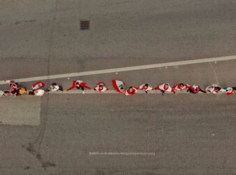 Aerial view of a part of the human chain formed by protesters in Lebanon on October 27. (Omar El Imadi)