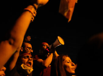 Shot from the Jbeil protests in Lebanon. (Eva Mahfouz)