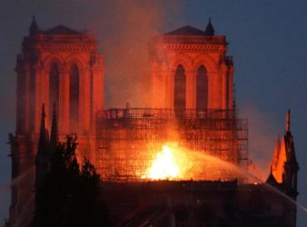 Fire shrouds the Notre-Dame Cathedral in France. (Telegraph