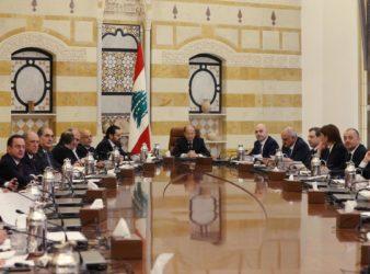 الرئيس ميشال عون في الاجتماع الأول للحكومة اللبنانية الجديدة في 2 فبراير. (The National)