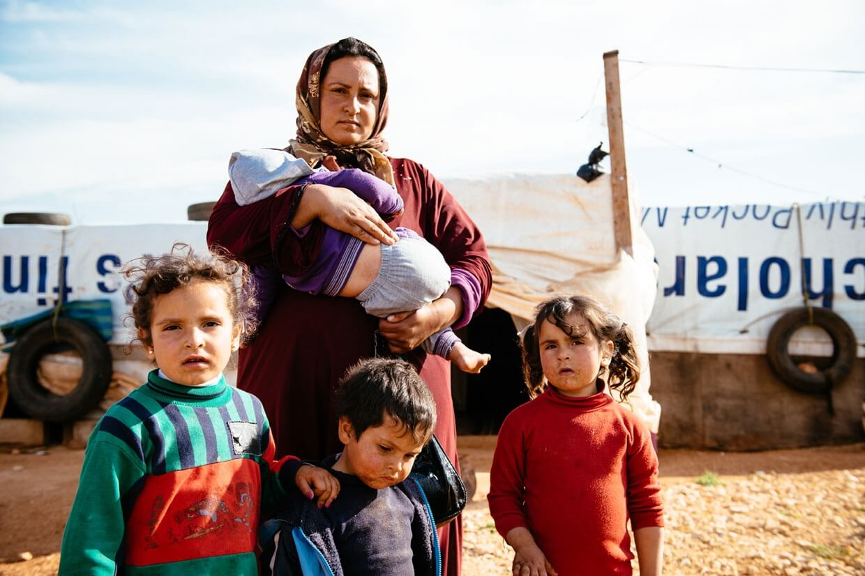 Mariam and her family, refugees in Lebanon. (Mercy Corps | Corinna Robbins)