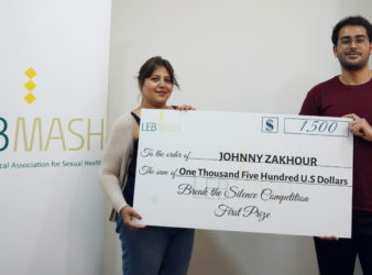 "LebMASH's Executive Director Souad Al Challah (left) and ""Break The Silence"" winner Johnny Zakhour."