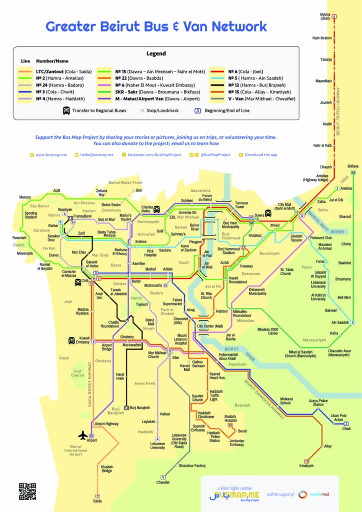 Bus Map Project public transport routes in English.