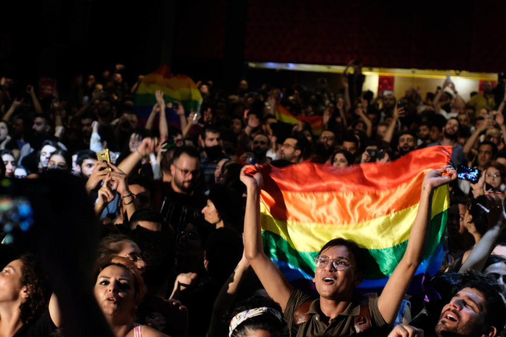 Pride flag at the Mashrou' Leila concert. (Lynn Sheikh Moussa)