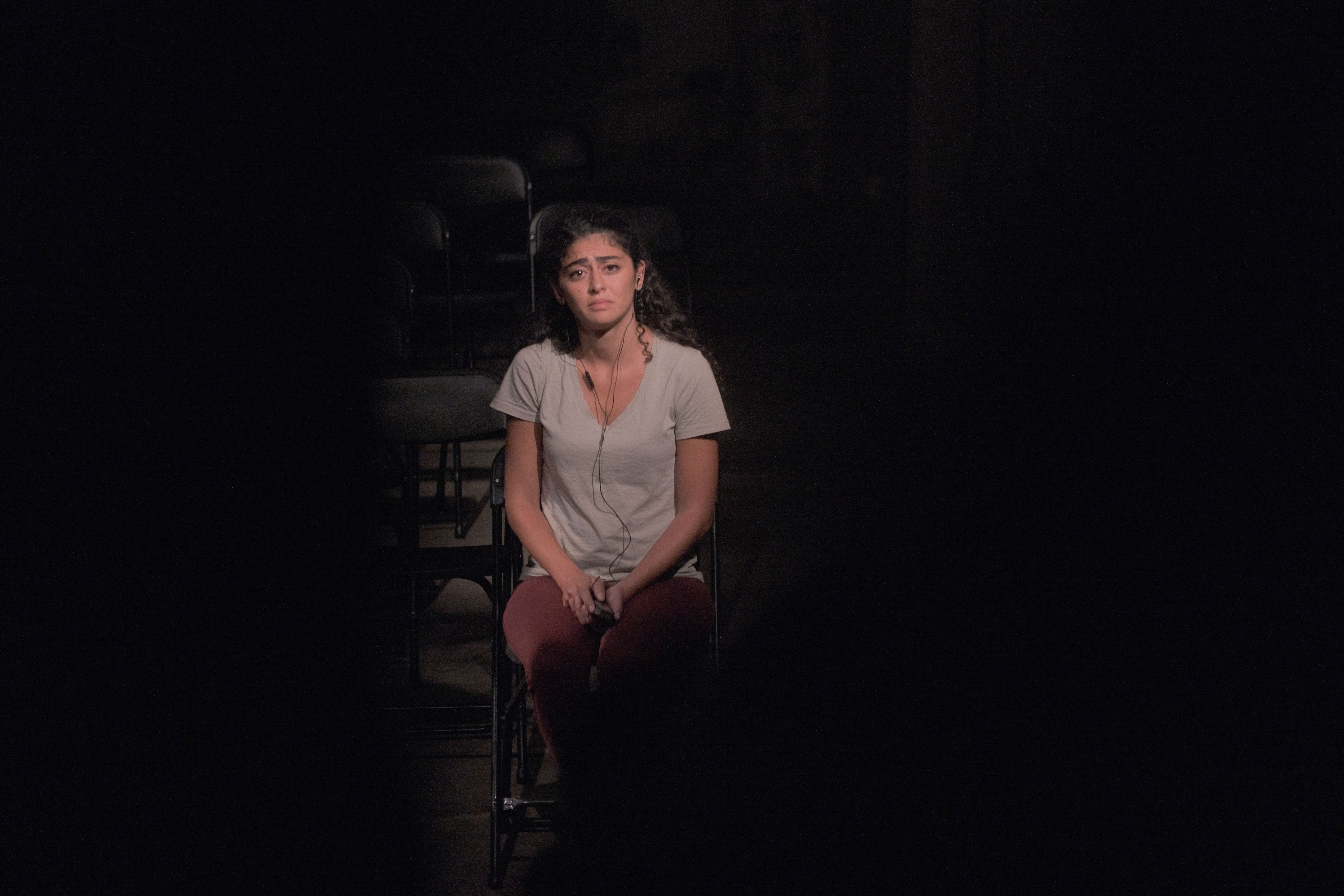 """Performing No Demand No Supply: A Re-reading of Lebanon's 2016 Sex Trafficking Scandal,"""" a documentary theatre performance under the patronage of the AUB Theater Initiative and in collaboration with NGO KAFA. (Nataly Hindaoui)"""