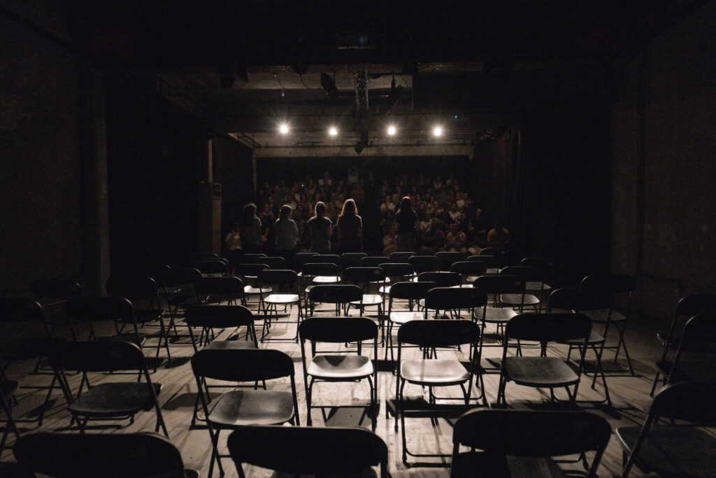 Performing No Demand No Supply: A Re-reading of Lebanon's 2016 Sex Trafficking Scandal, a documentary theatre performance under the patronage of the AUB Theater Initiative and in collaboration with NGO KAFA. (Nataly Hindaoui)
