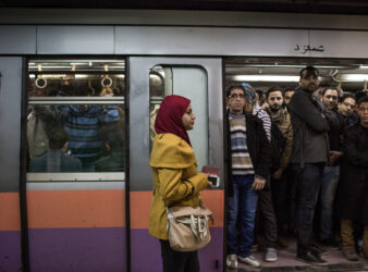 At the Ramsis metro station, women usually prefer to use the ladies metro cars for fear of being harassed. (Photo by Eman Helal, one of the female journalists in Zahra Hankir's anthology.