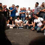 During the protests, several University professors gave their classes on the streets. On the Jbeil highway, Dr. Sharif Abdunnur, media ethics professor in LAU and AUT, gives an open class lecture and discussion on the importance of a technocratic government. (Eva Mahfouz)