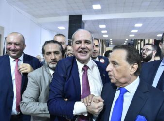 Moments after Melhem Khalaf was elected as the independent head of the Beirut Bar Association for lawyers in November. (Ahmad Azakir/Annahar)