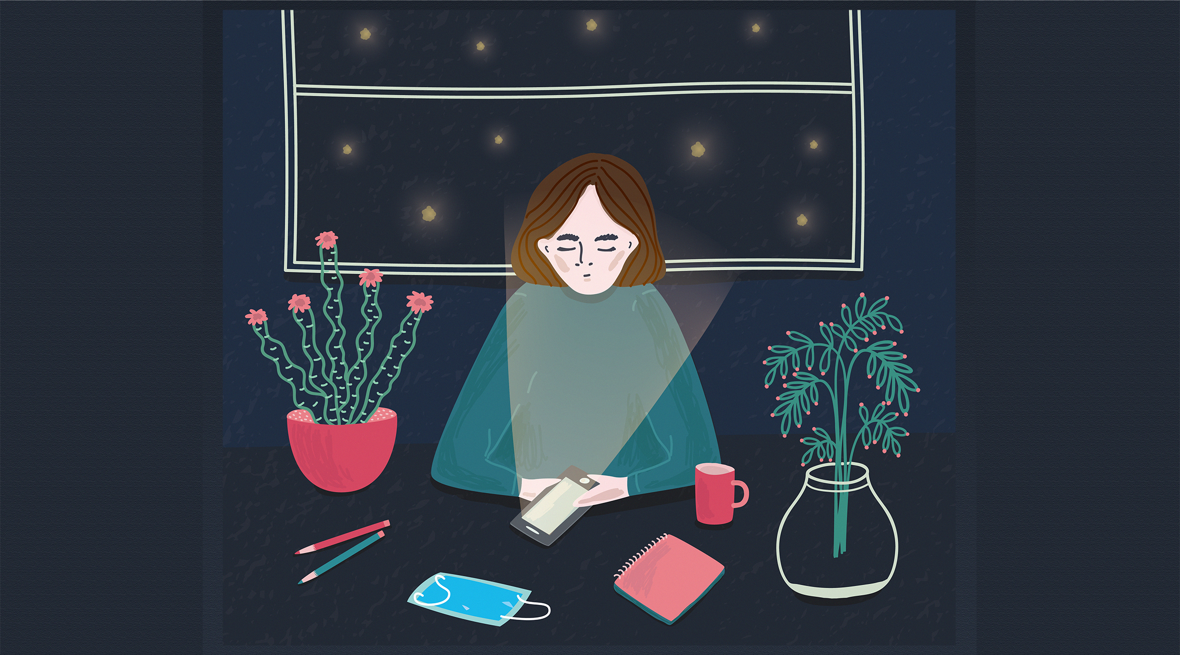 Illustration of woman sitting at a desk and using her phone at night with a facemask in front of her. For Speak Up COVID article