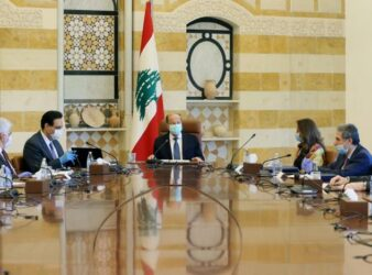 President Michel Aoun heads a cabinet meeting on April 9, 2020. (Photo: Dalati Nohra/Handout via Reuters) Economic draft plan article