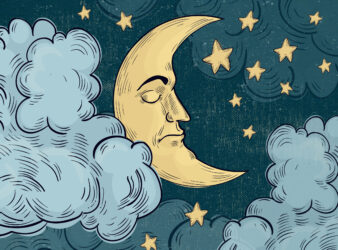 Dreams and nightmares under COVID-19 and economy in Lebanon article. Photo shows a the moon floating among clouds, with a sad face on.