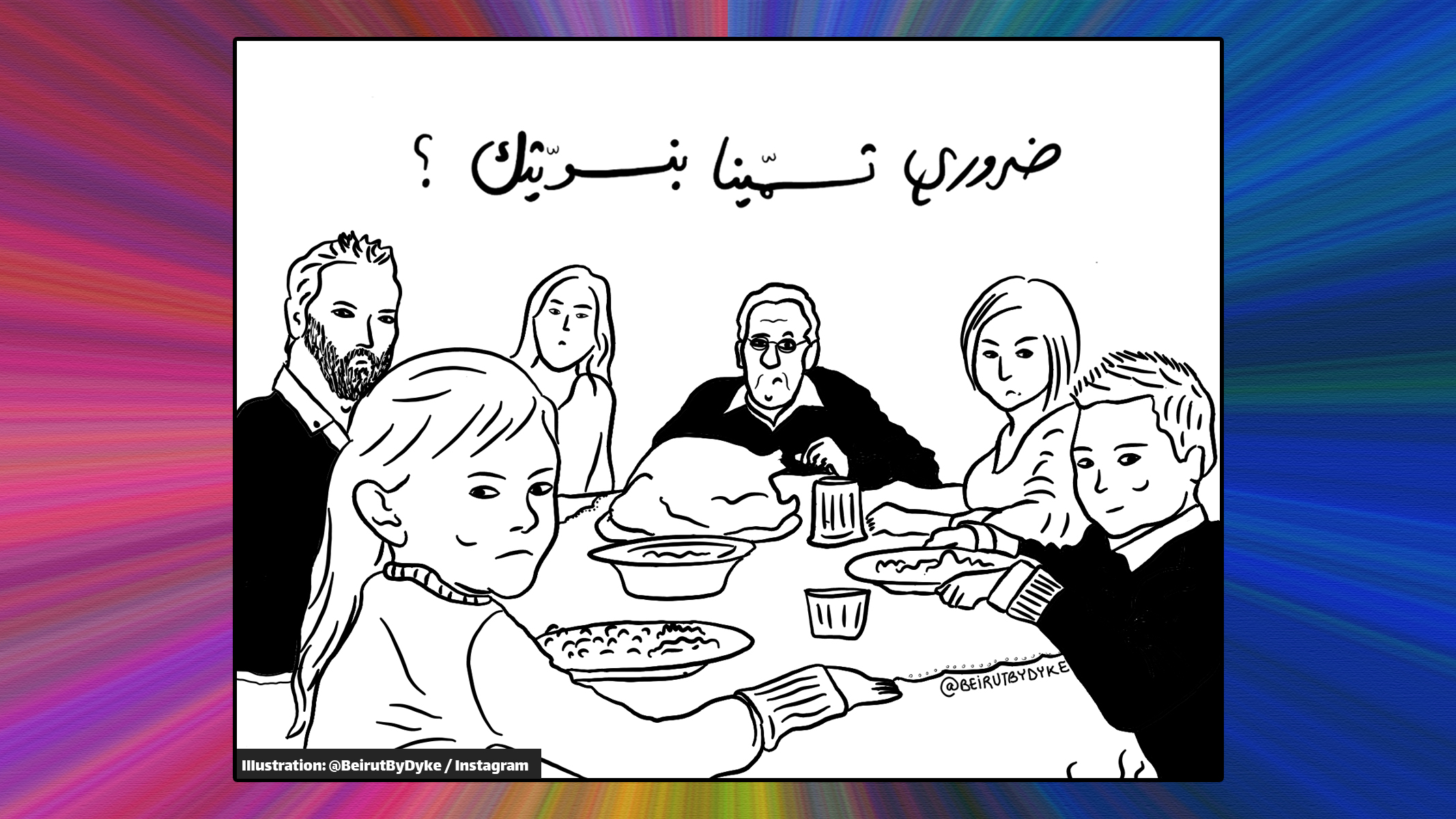 Queerness in the Arab World Article: Photo of family on table staring at you in discontent. Reads above them: