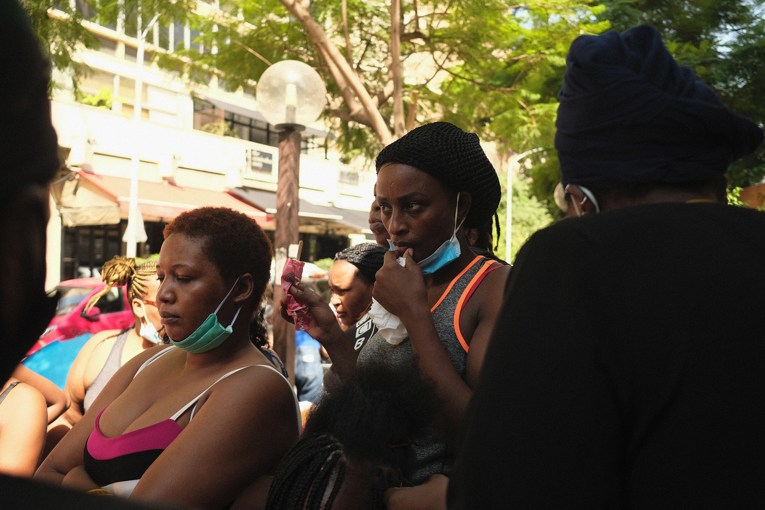 Kenyan women protest outside of their consulate in Beirut, demanding repatriation. (Photo: Andre Mahfouz)
