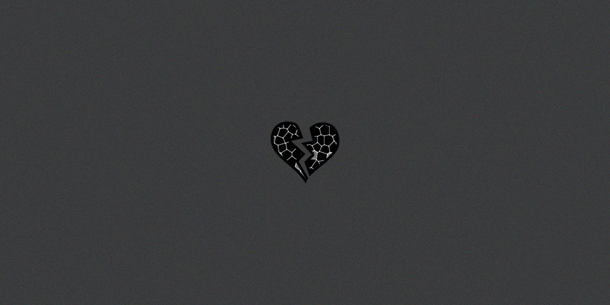 Beirut explosion - Collective trauma - Black glass-stained heart over grey background