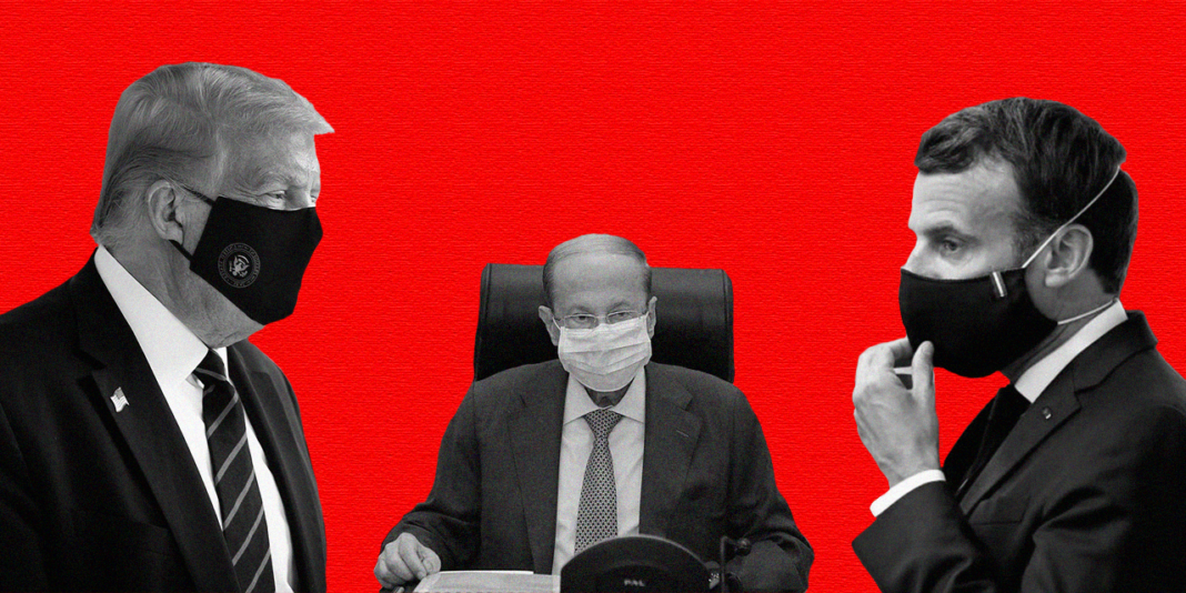 Presidents Donald Trump from the United States of America, Michel Aoun from Lebanon, and Emmanuel Macron from France against a red backdrop
