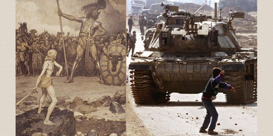"""On the left is Osmar Schindler's 1888 painting """"David and Goliath."""" On the right is 15-year-old Faris Odeh throwing a rock at an Israeli tank during the Second Intifada. He was killed by the Israelis ten days after this picture was taken."""