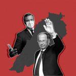 Collage of Aoun, Macron, and Lebanon