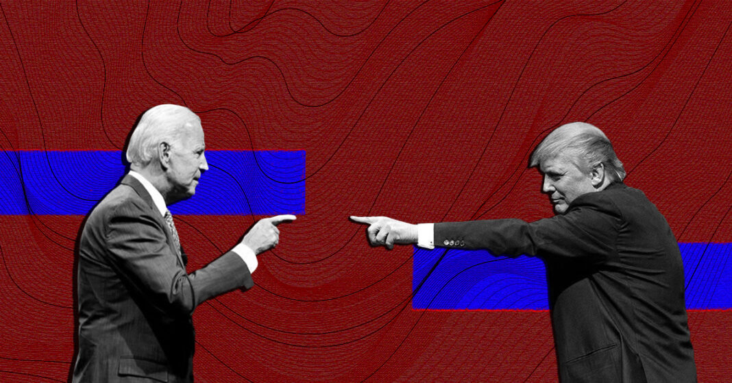 Biden and Trump pointing fingers against a red background