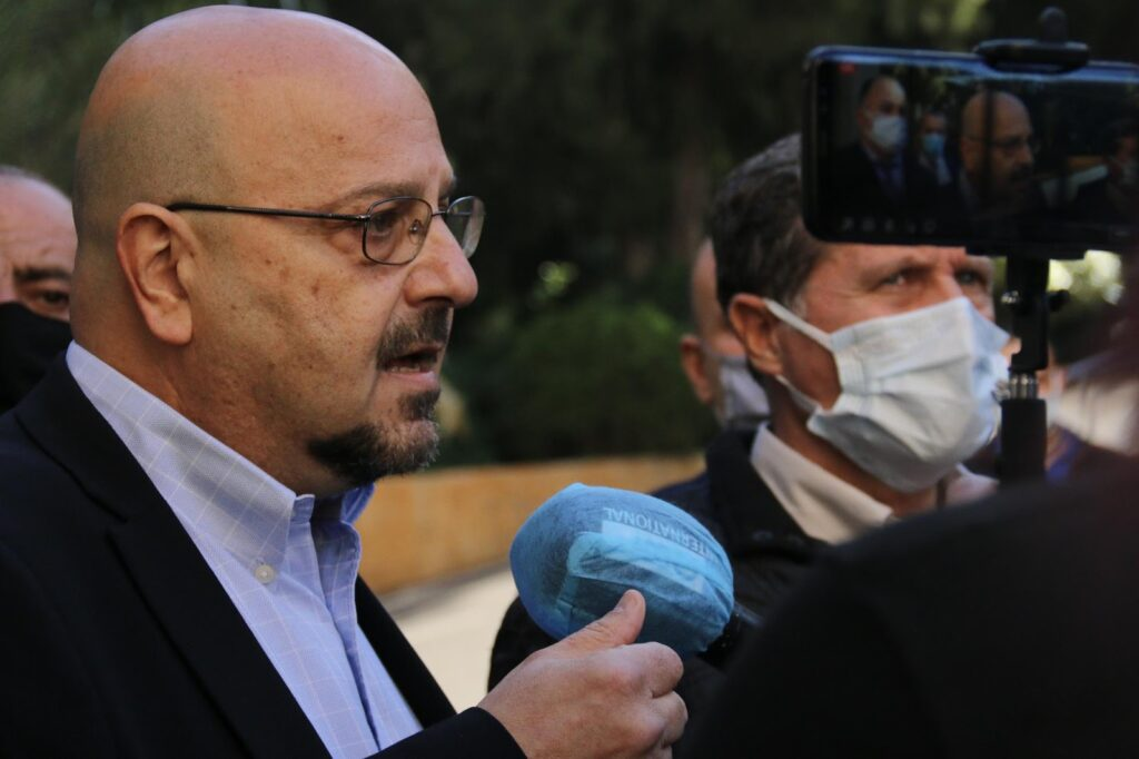 LAU Dean of Students, Dr. Raed Mohsen, at the LAU student protest following the announcement of the adoption of the LL 3,950 per dollar exchange rate. (Photo: Hanin Haidar Ahmad, December 10, 2020).