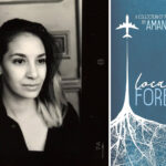 "Side by side photos of Amanda Dufour and the cover of her ""Local Foreigner"" poetry anthology."
