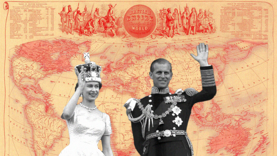 Collage of Prince Philip and the Queen waving. Behind them is a map of British colonialism across the world.