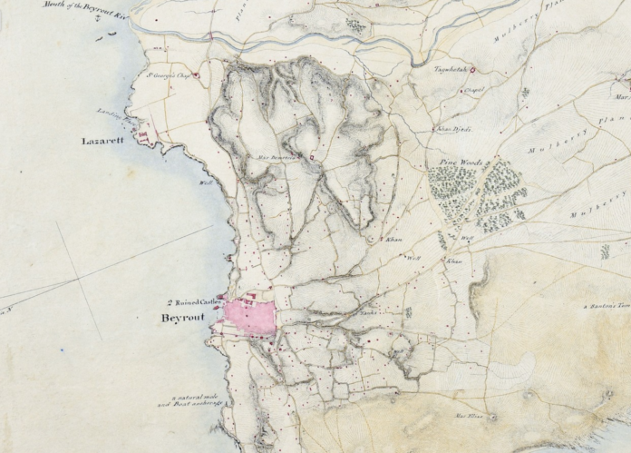 1841 Rochfort Scott map showing Beirut and the lazzaretto, where travellers would quarantine prior to entering the city. (