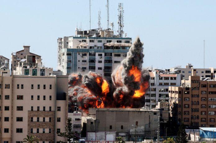 Jala Tower destroyed in an Israeli airstrike in Gaza. (Photo: NBC News via Mahmud Hams / AFP / Getty Images)