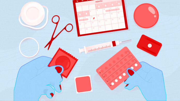 Illustration showing various contraceptive methods laid out on a table