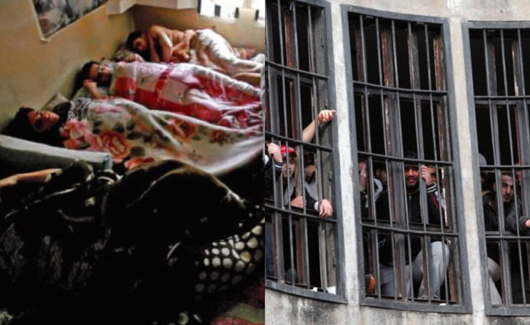Collage: One side shows four prisoners sleeping side by side in a small room, and the other is an exterior shot of a barred window with Roumieh prisoners standing behind.