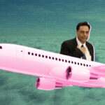 Collage of Hassan Diab saluting from the top of a plane with clouds in the background