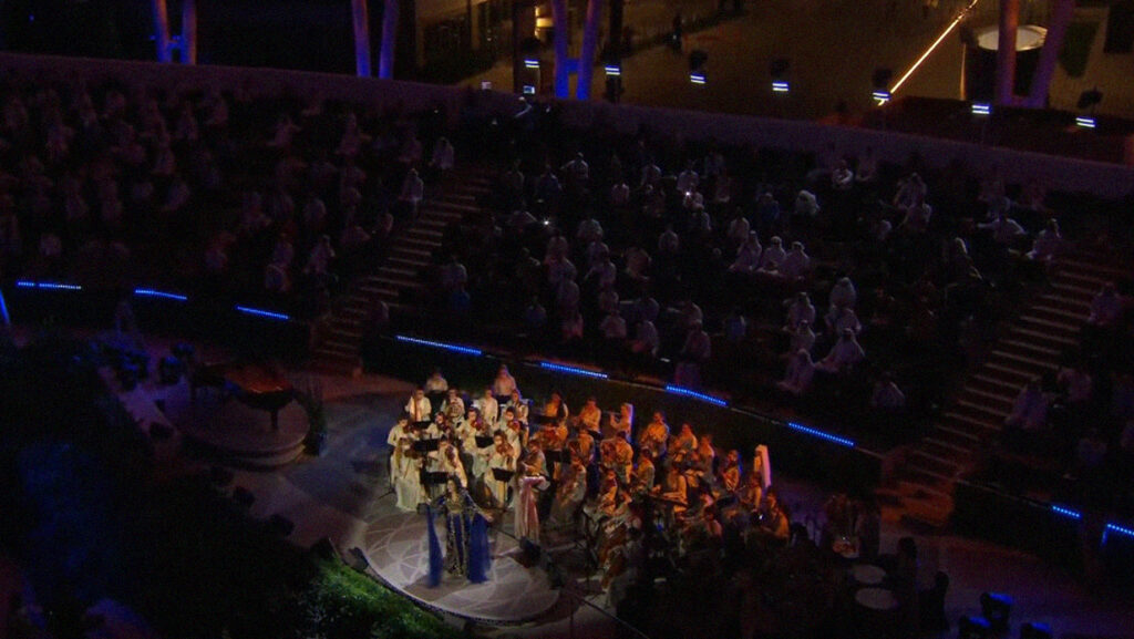 Ahlam performs backed by the Firdaus Women's Orchestra at the Expo 2020 Dubai opening ceremony
